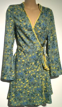 INFLUENCE MINT YELLOW WRAP MINI DRESS SIZE 10